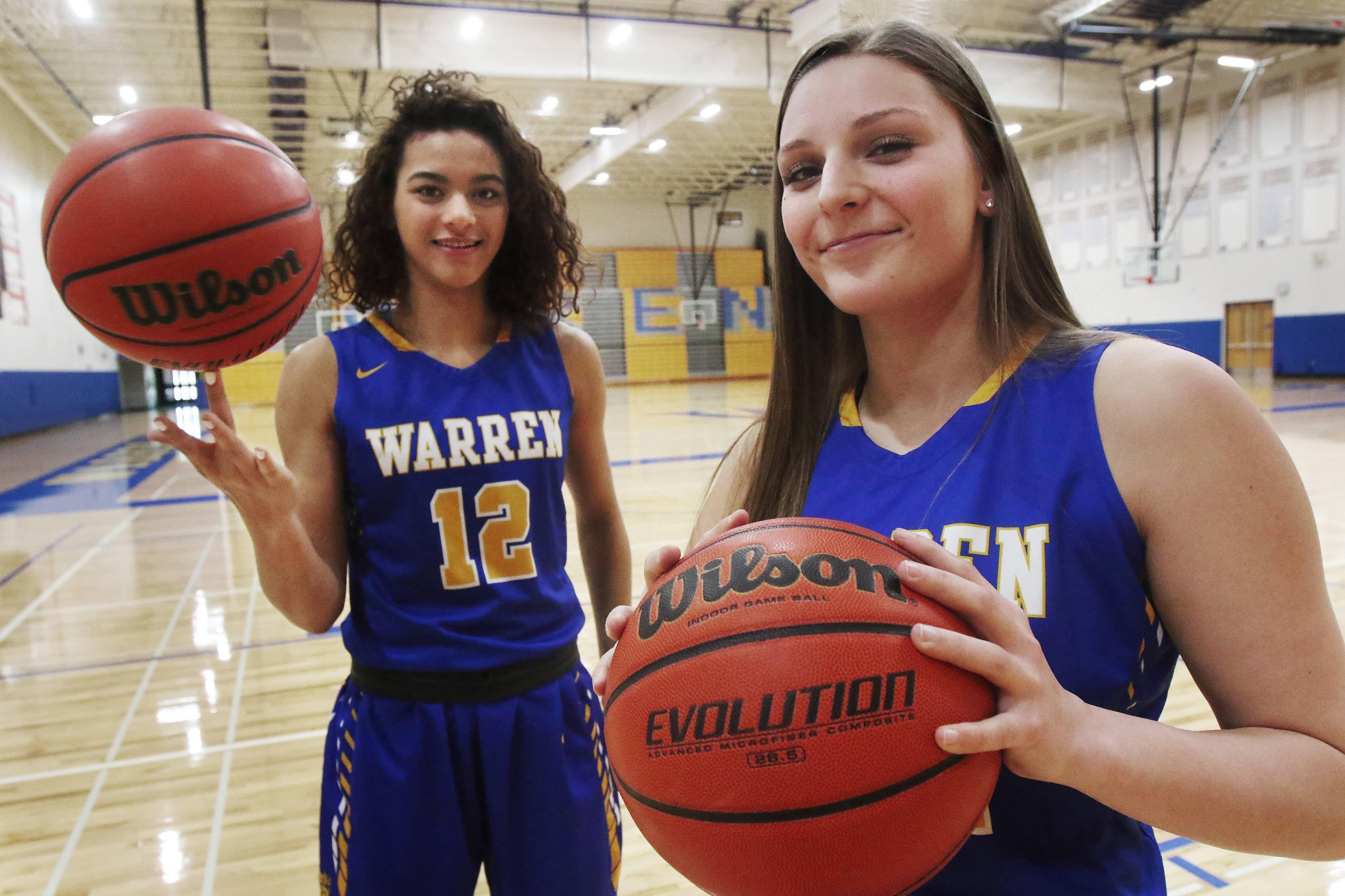 Warren's Kaylen Dickson, left, and Jordyn Hughes co-captain the Daily Herald's Lake County girls basketball all-area team.