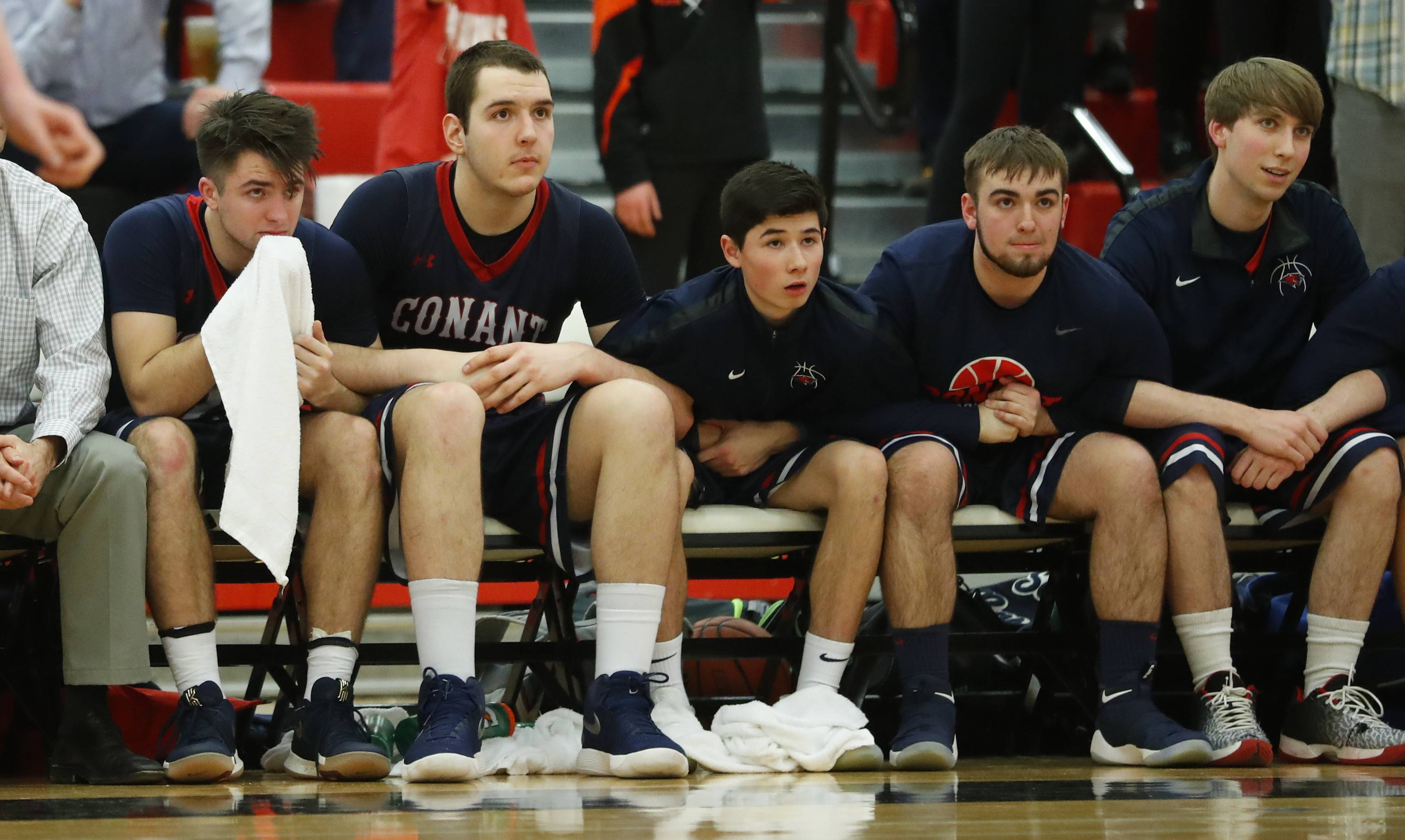 Conant looks on with trepidation during Class 4A regional final play Friday at Deerfield.
