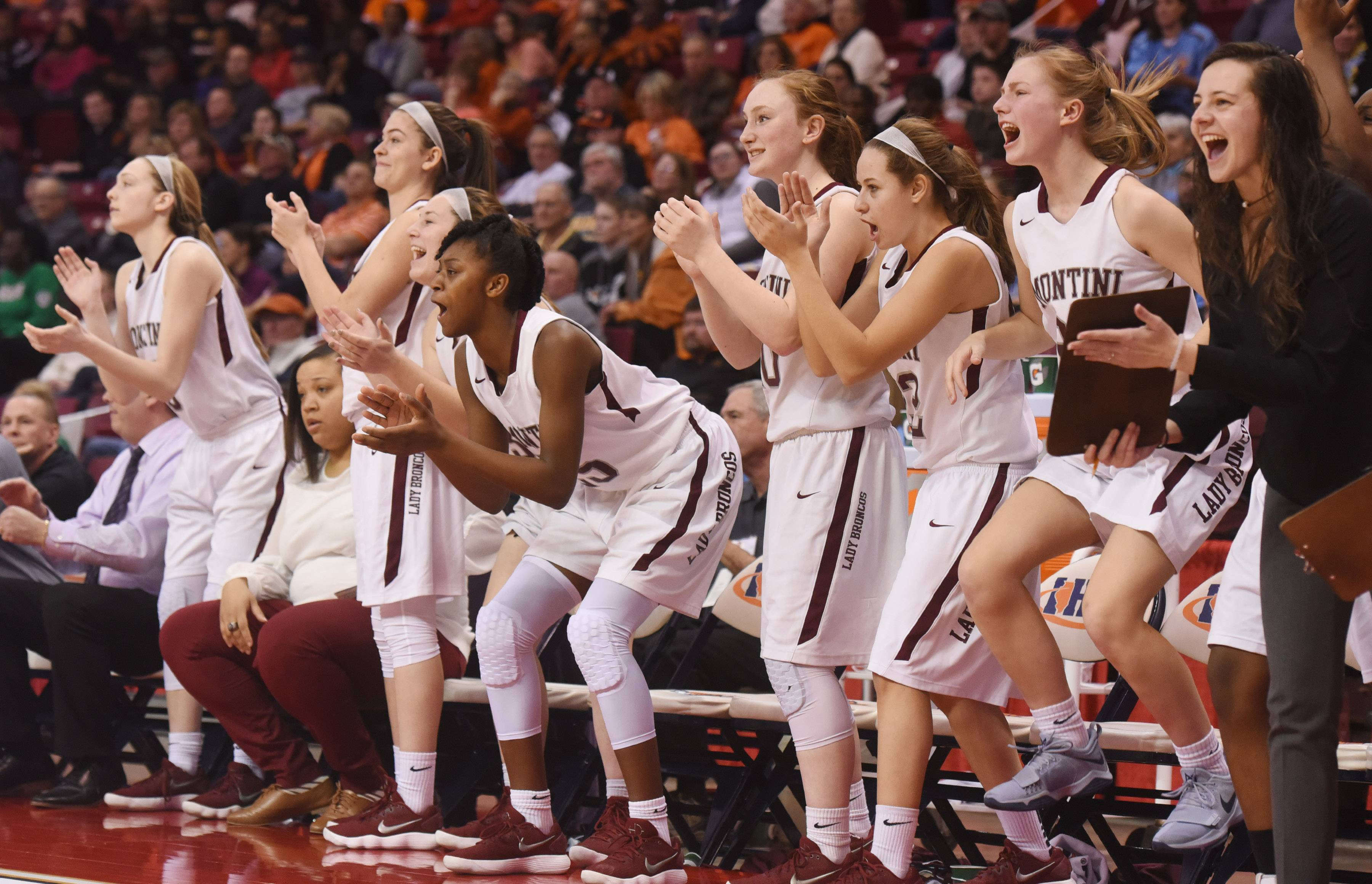 Players on the Montini bench celebrate a basket by their team during the Class 4A girls basketball semfinal against Edwardsville at Redbird Arena in Normal Friday.