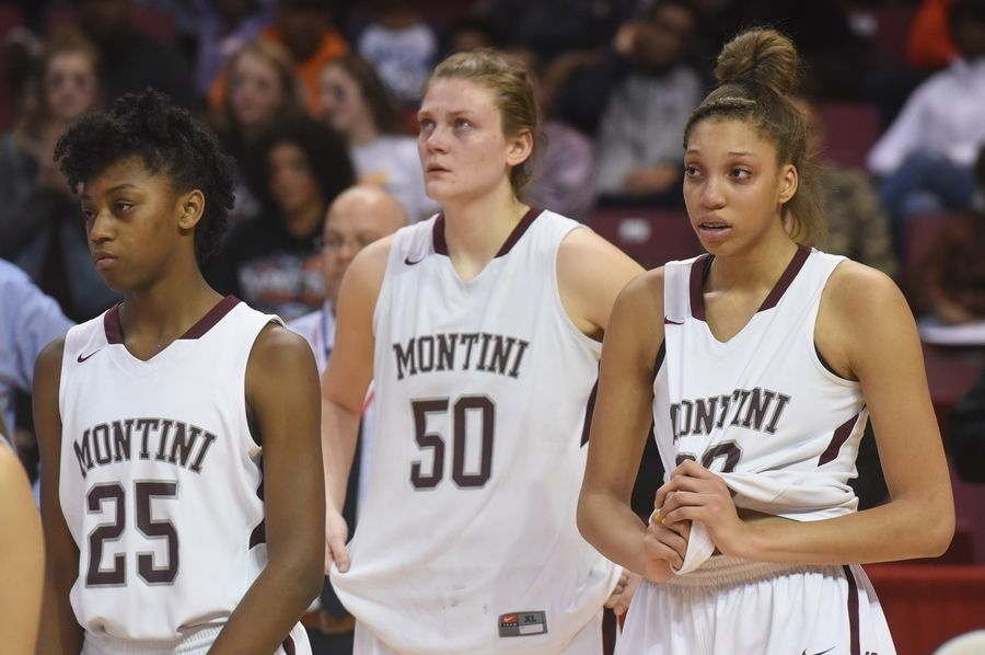 Left to right, Montini's Taris Thornton, Lindsey Jarosinski and Aaliyah Patty react to their team's 28-26 loss to Geneva during the girls basketball Class 4A title game at Redbird Arena in Normal Saturday.