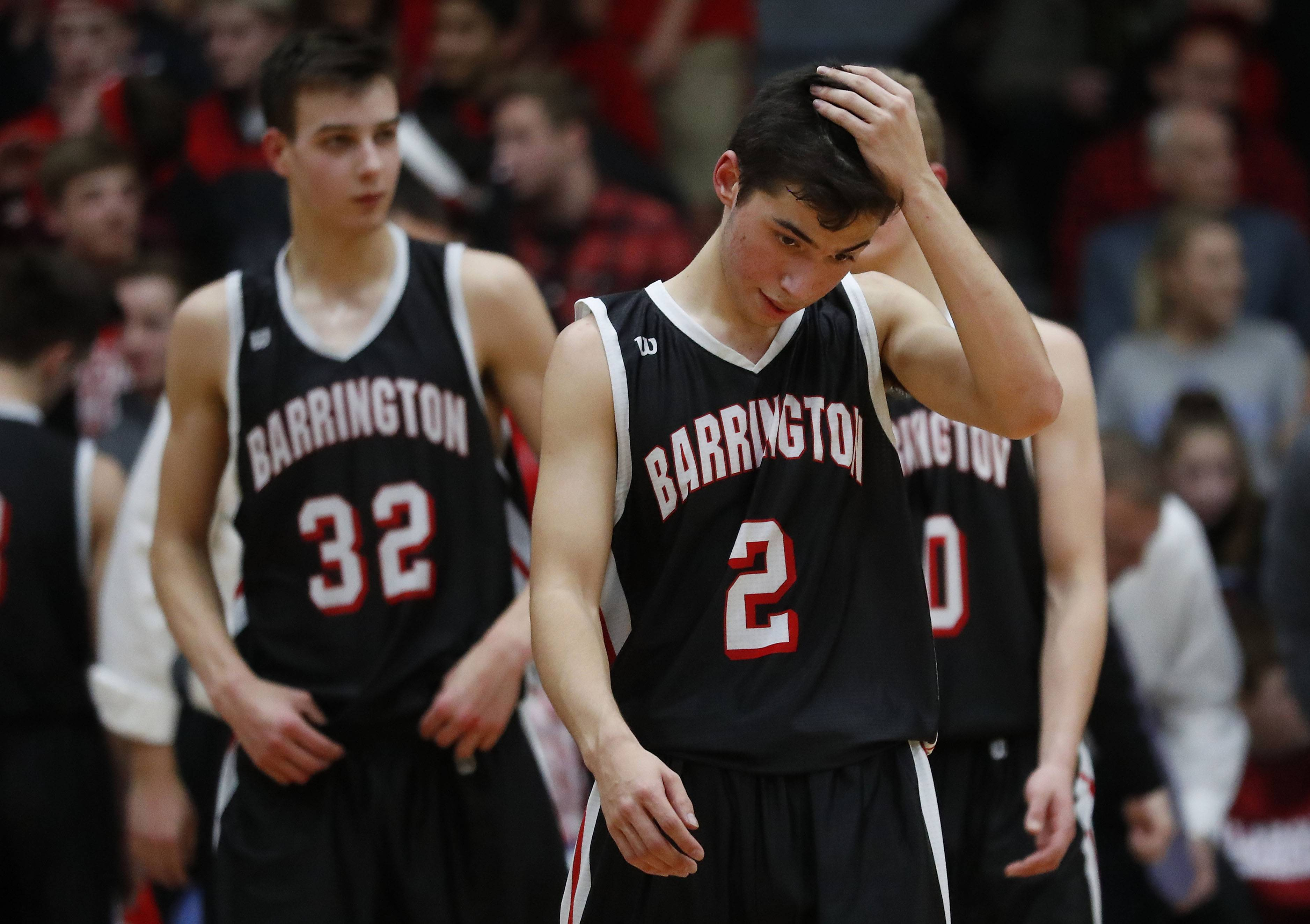 Barrington's Jason Boock reacts during the Broncos' 69-60 loss in the Class 4A sectional final at Lake Zurich on Friday.