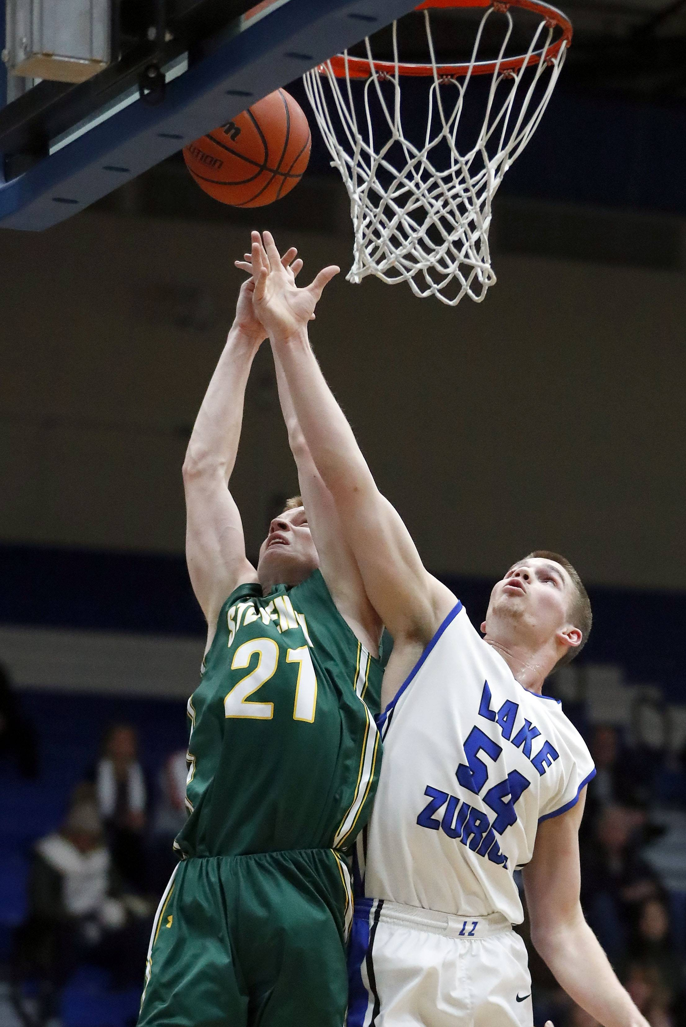 Lake Zurich's Peter DiCerbo (54) and Stevenson's Jackson Qualley will battle again on Friday, April 13 in the Lake County Senior Shootout. DiCerbo will play for the West team and Qualley for the East.