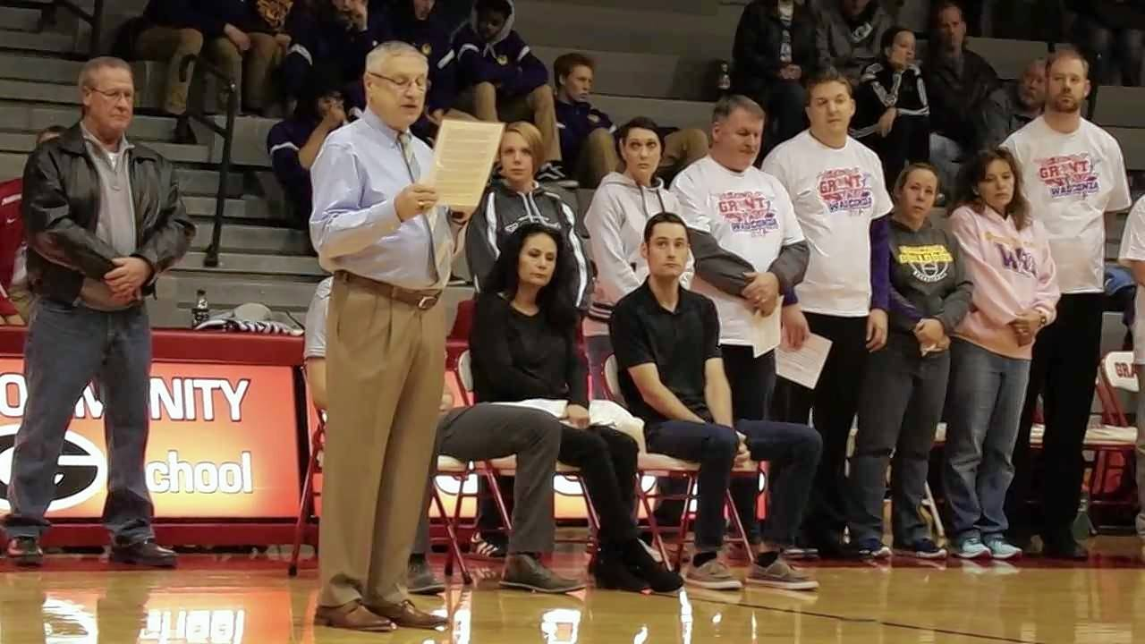 Former Grant boys basketball coach Tom Maple, shown here speaking at the Lee Oler court dedication at Grant in February, passed away last Saturday.