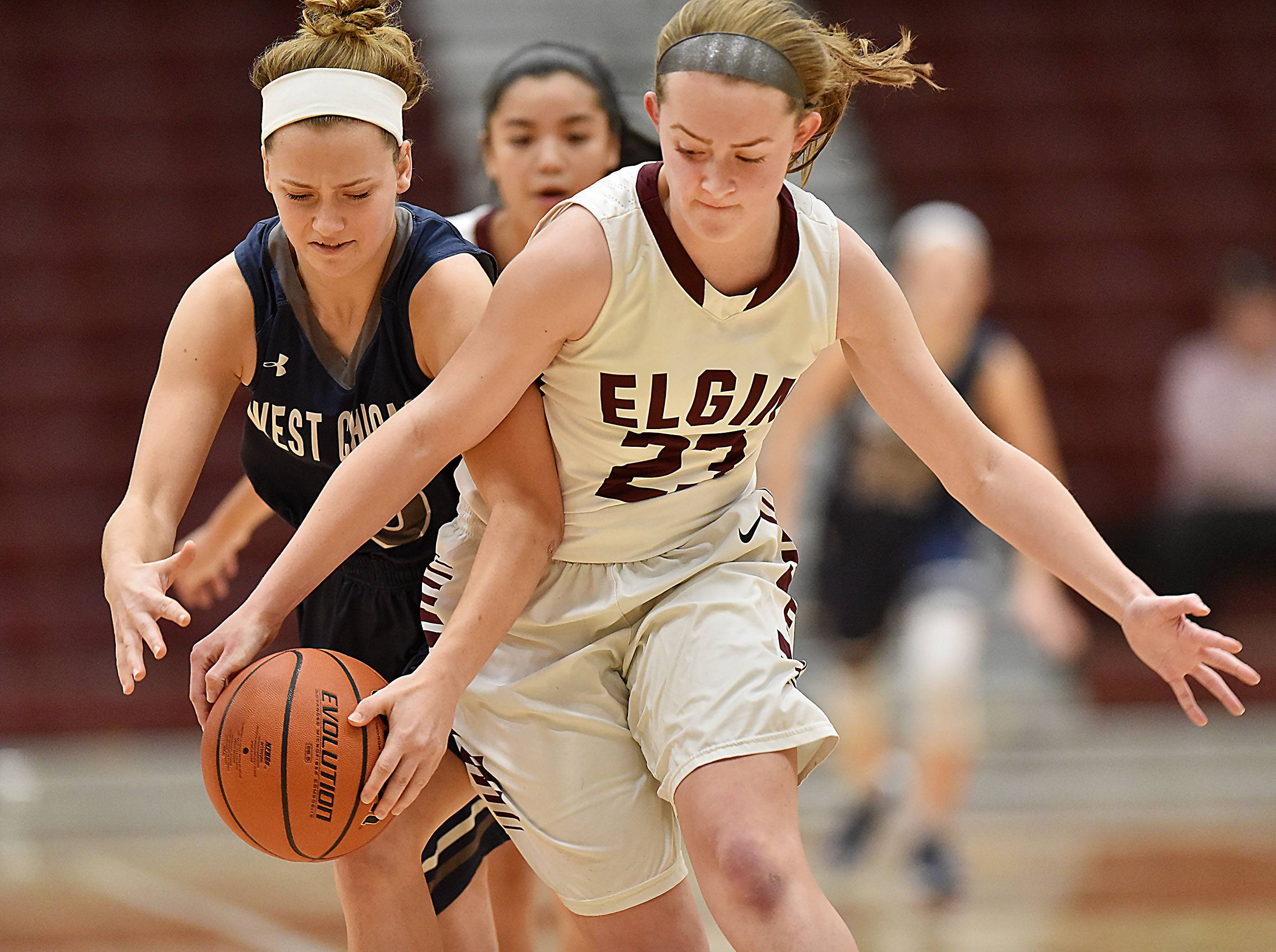 Elgin's Kylie Graves, right, is the 2017-18 Daily Herald Fox Valley Female Athlete of the Year.
