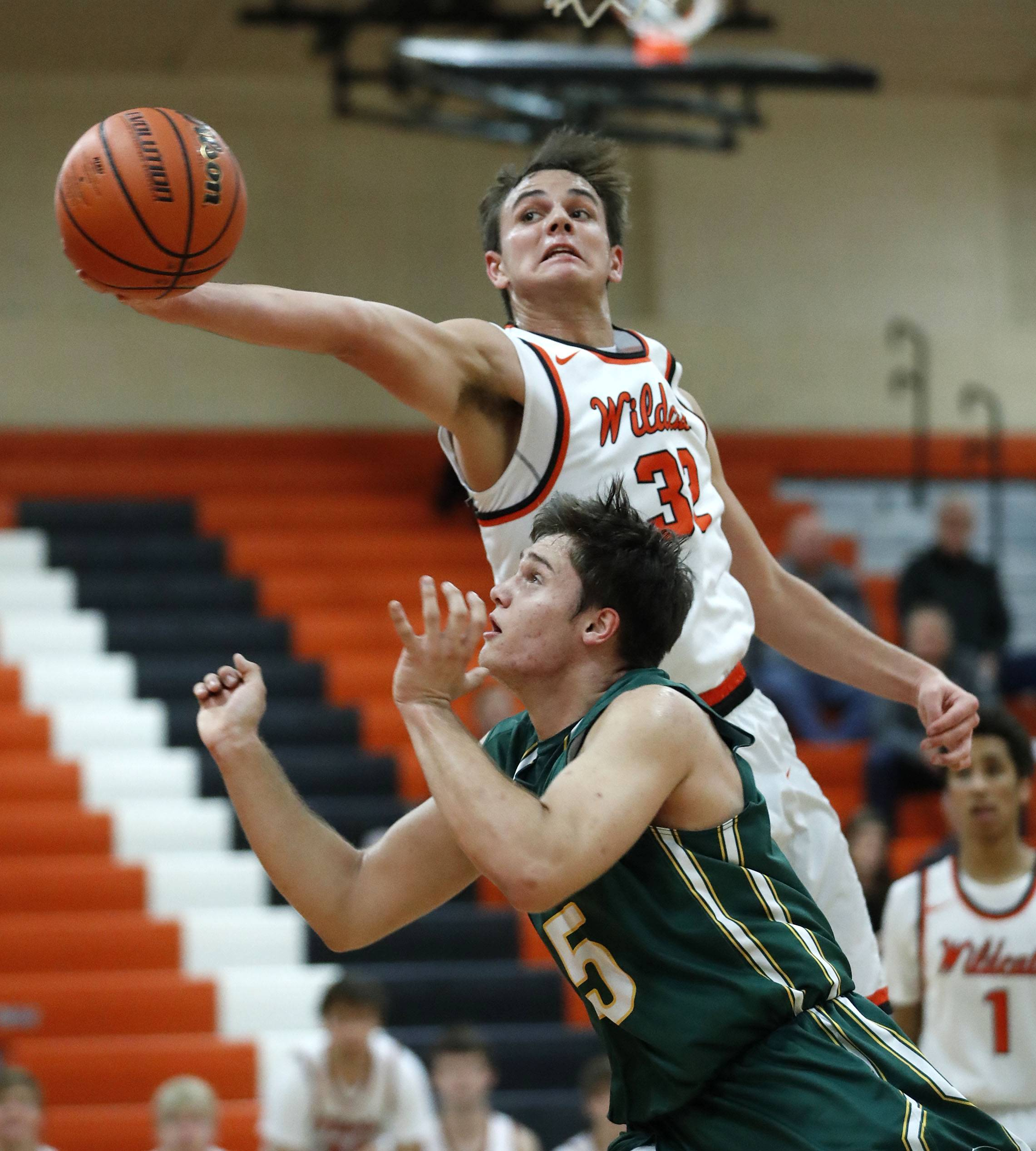 Libertyville's Travis Clark, top, and Stevenson's Matthew Kaznikov during their game Tuesday night in Libertyville.