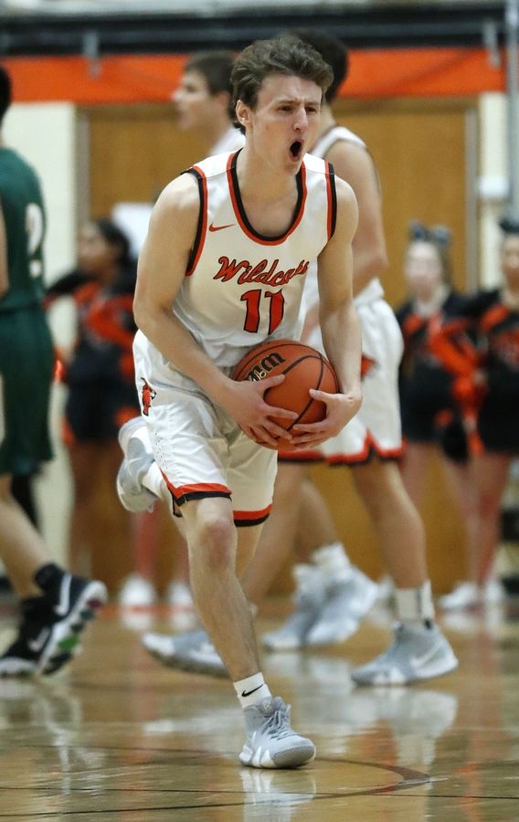 Libertyville's Josh Steinhaus reacts after getting called for a foul during their game against Stevenson Tuesday night in Libertyville.