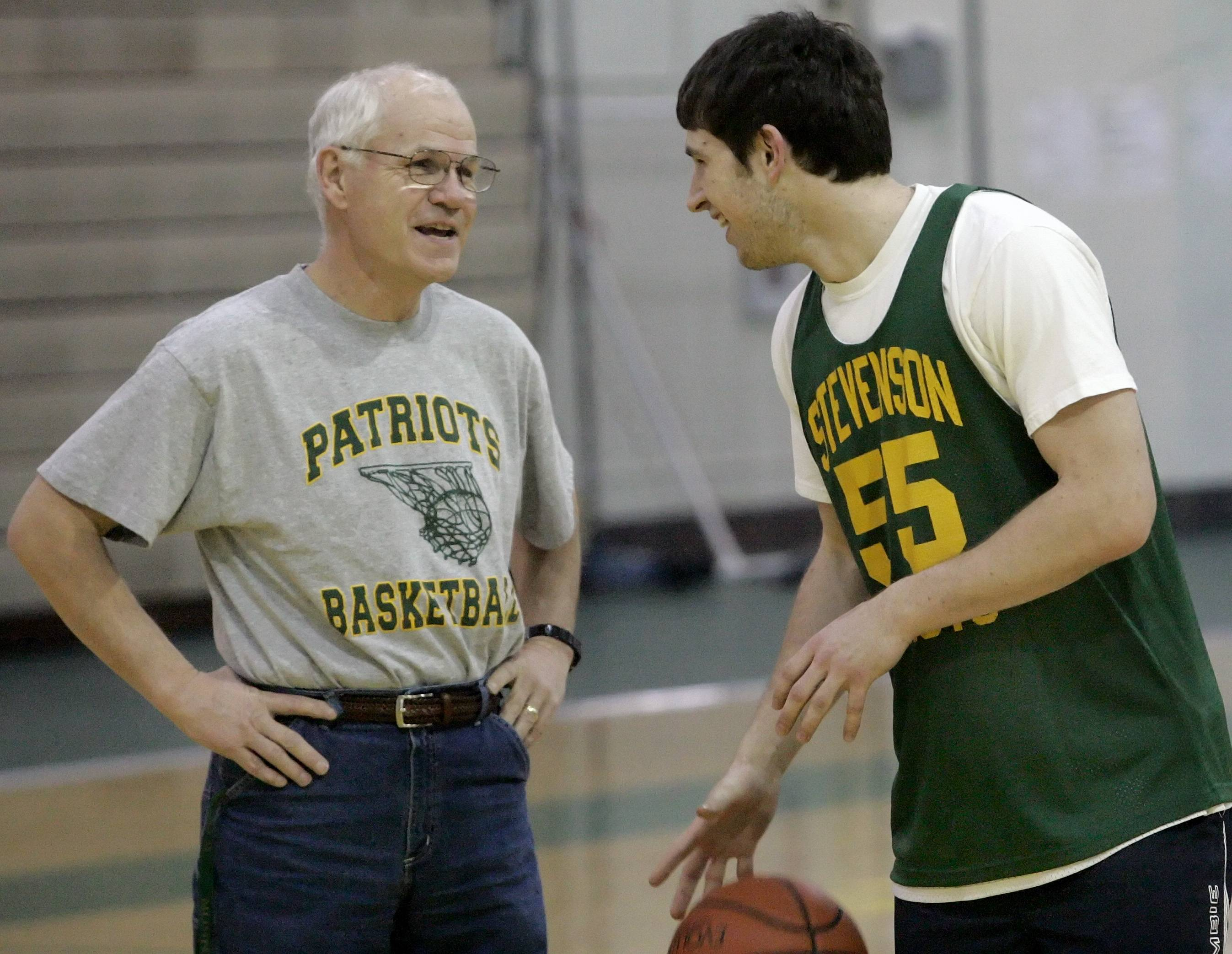 Stevenson boys basketball assistant coach Paul Swan, left, will be honored on Dec. 15 for his 50 years of service to the school.
