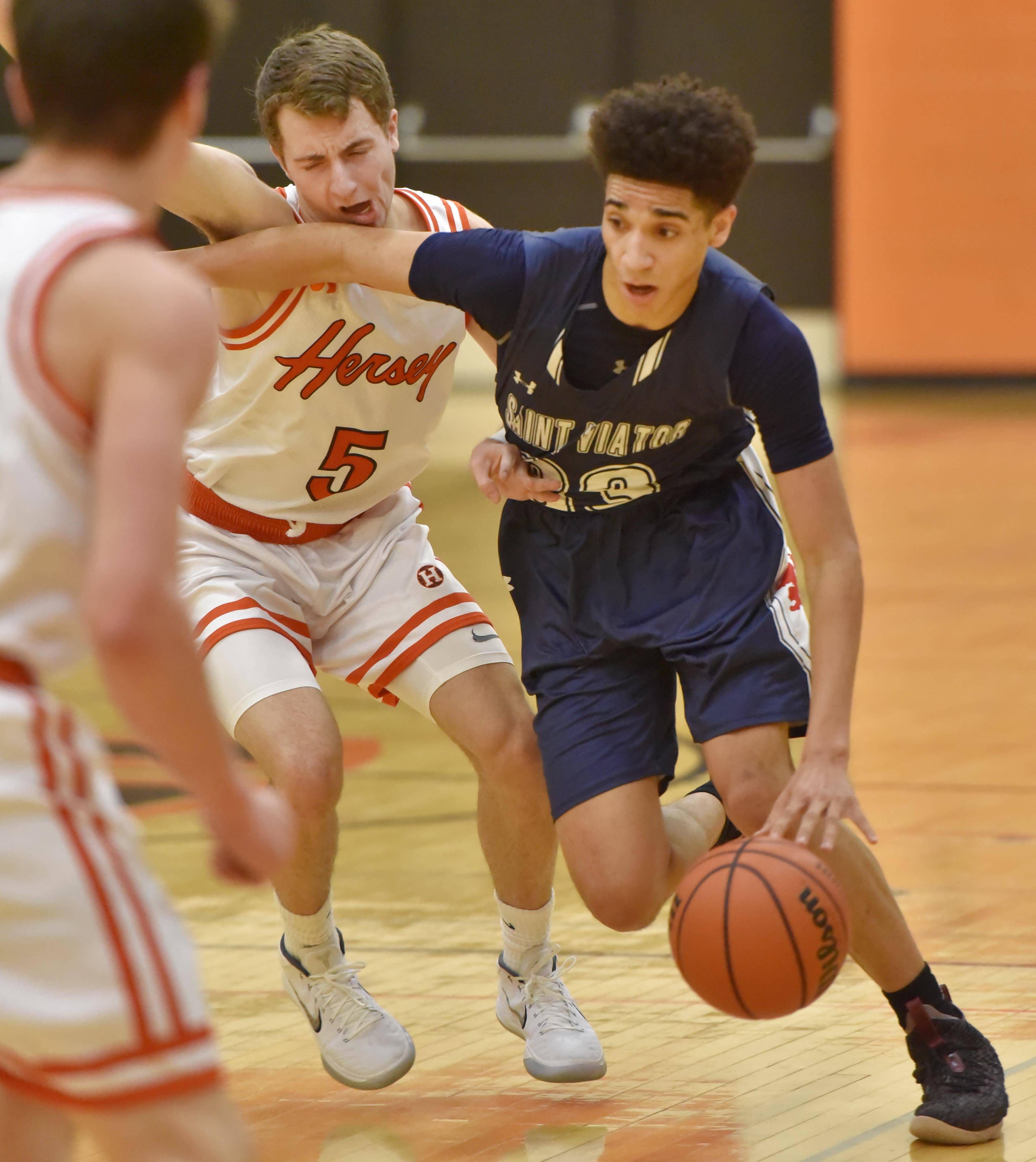 Hersey's Davis Belford takes an elbow to the jaw as St. Viator's Jeremiah Hernandez drives past him Saturday in a boys basketball game in Arlington Heights.