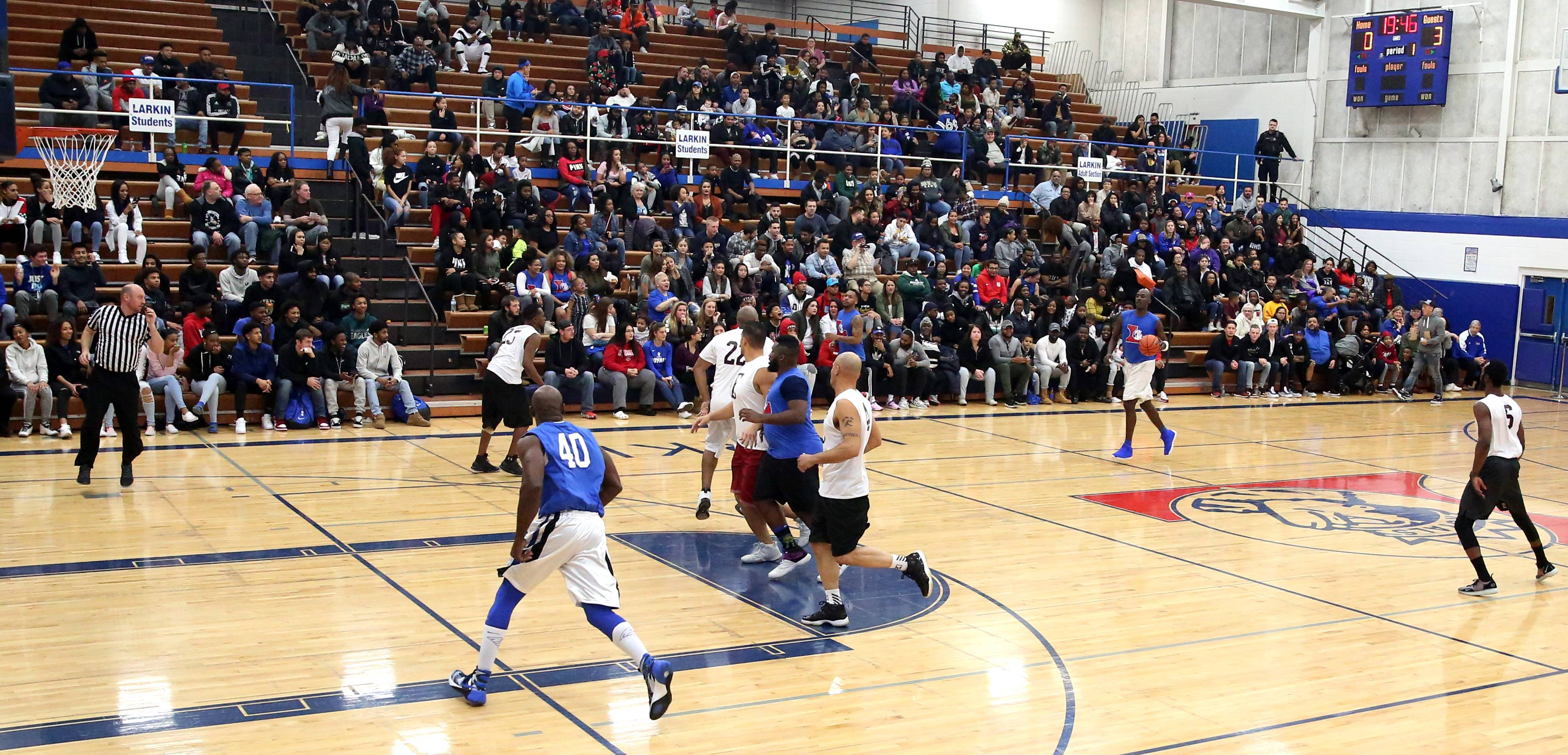 A large crowd was on hand to take in the Larkin vs. Elgin Part 2 alumni games at Larkin High School in Elgin Wednesday night.
