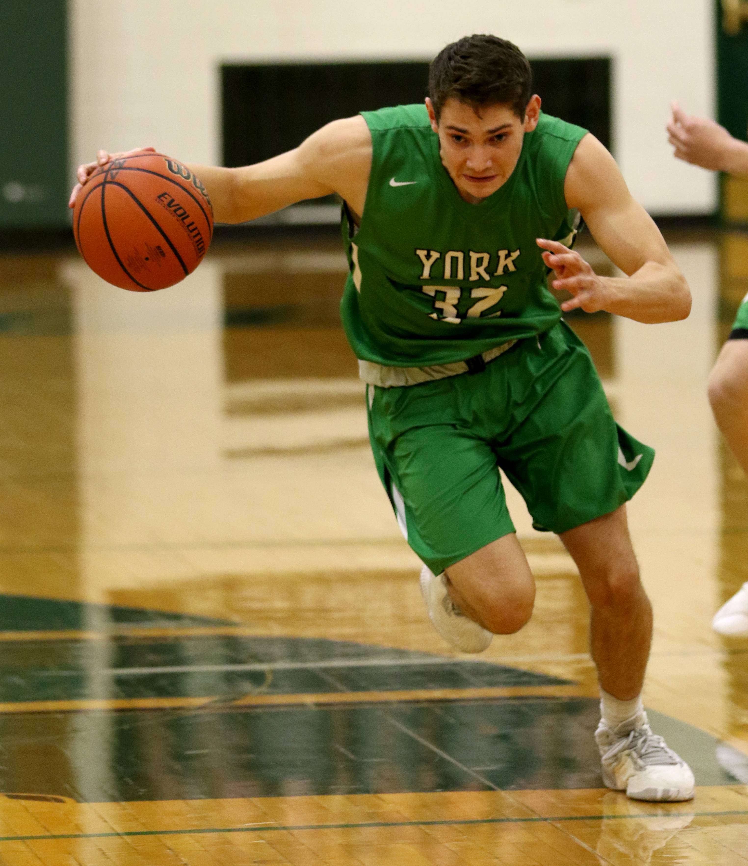 York's Erik Cohn during varsity boys basketball at Fred L. Biester Gymnasium on the campus of Glenbard West Tuesday night.