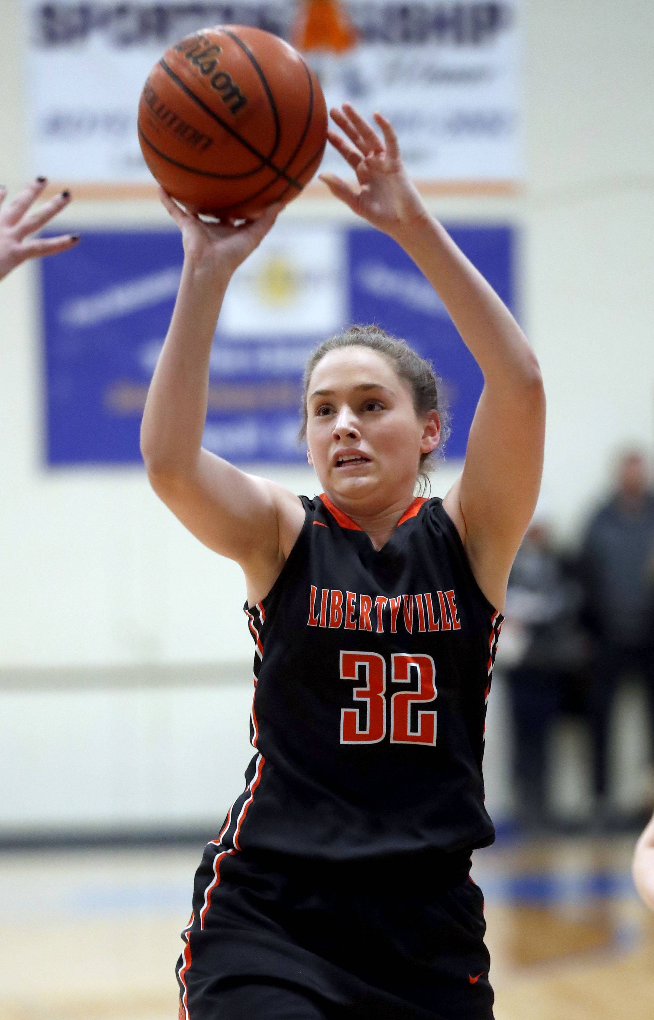 Libertyville's Margaret Buchert shoots a jumper during their game Wednesday night in Lake Forest.