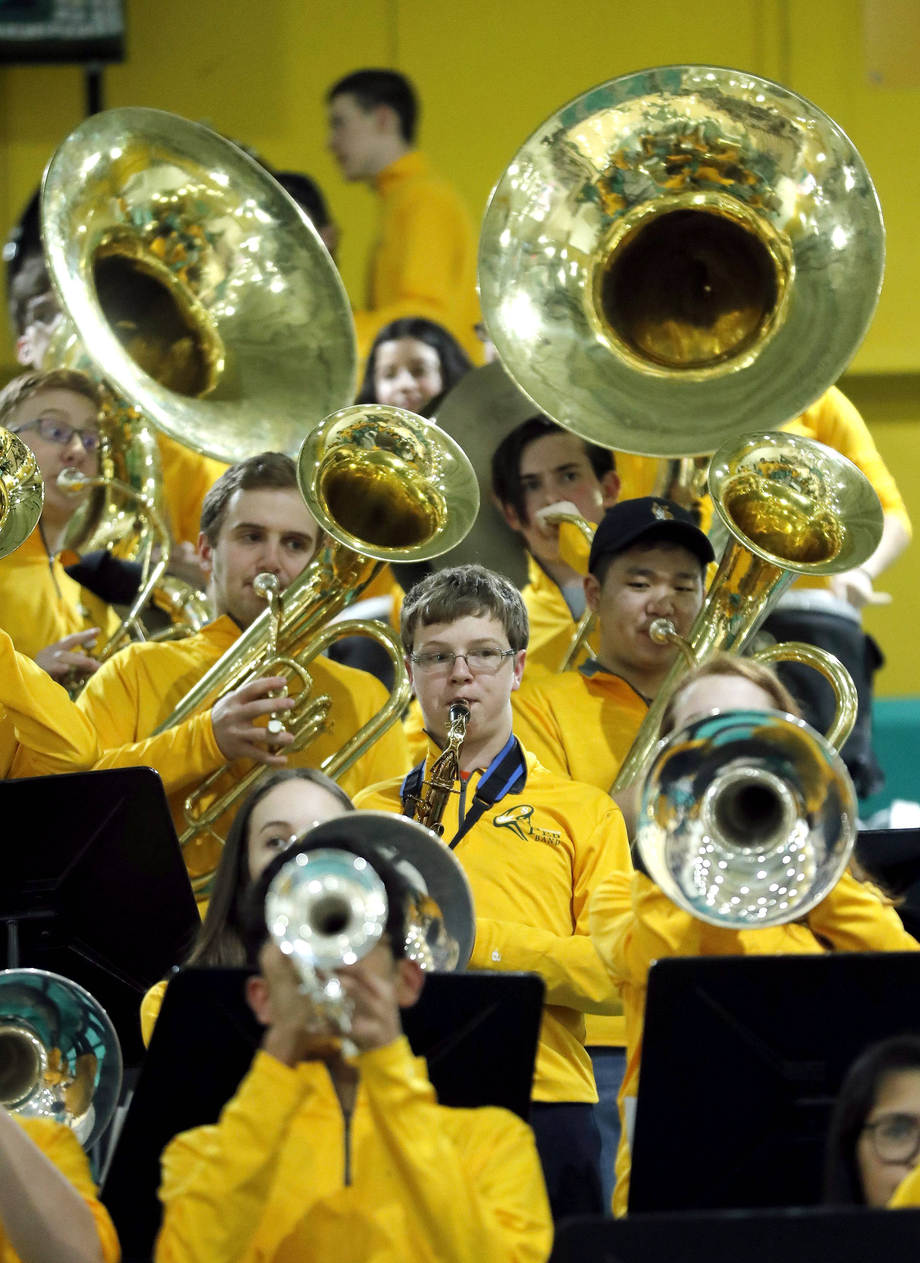 The Stevenson band plays before their game against Waukegan Friday night in Lincolnshire.