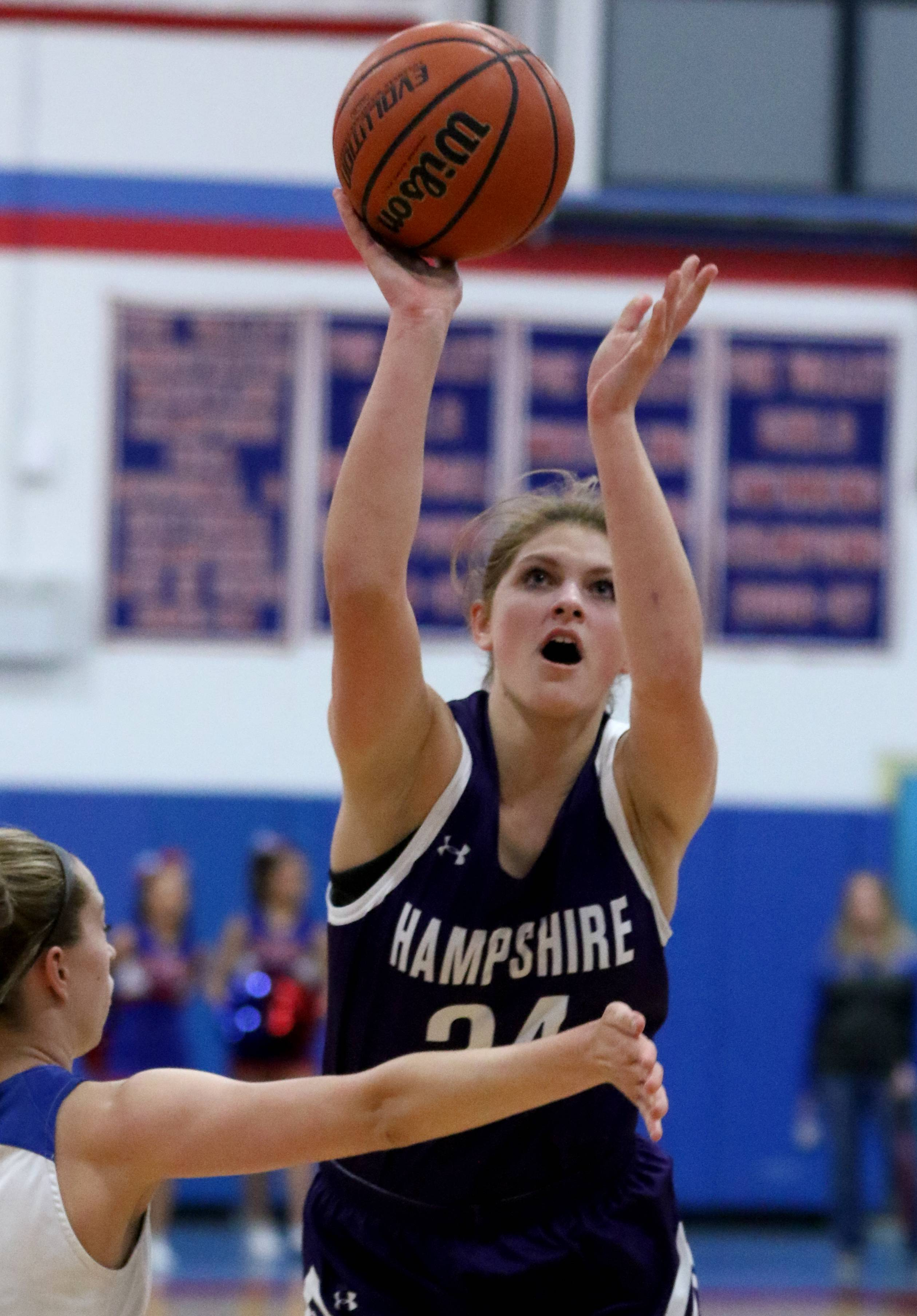 Hampshire's Kelby Bannerman takes a shot against Dundee-Crown during varsity girls basketball at Carpentersville Friday night.