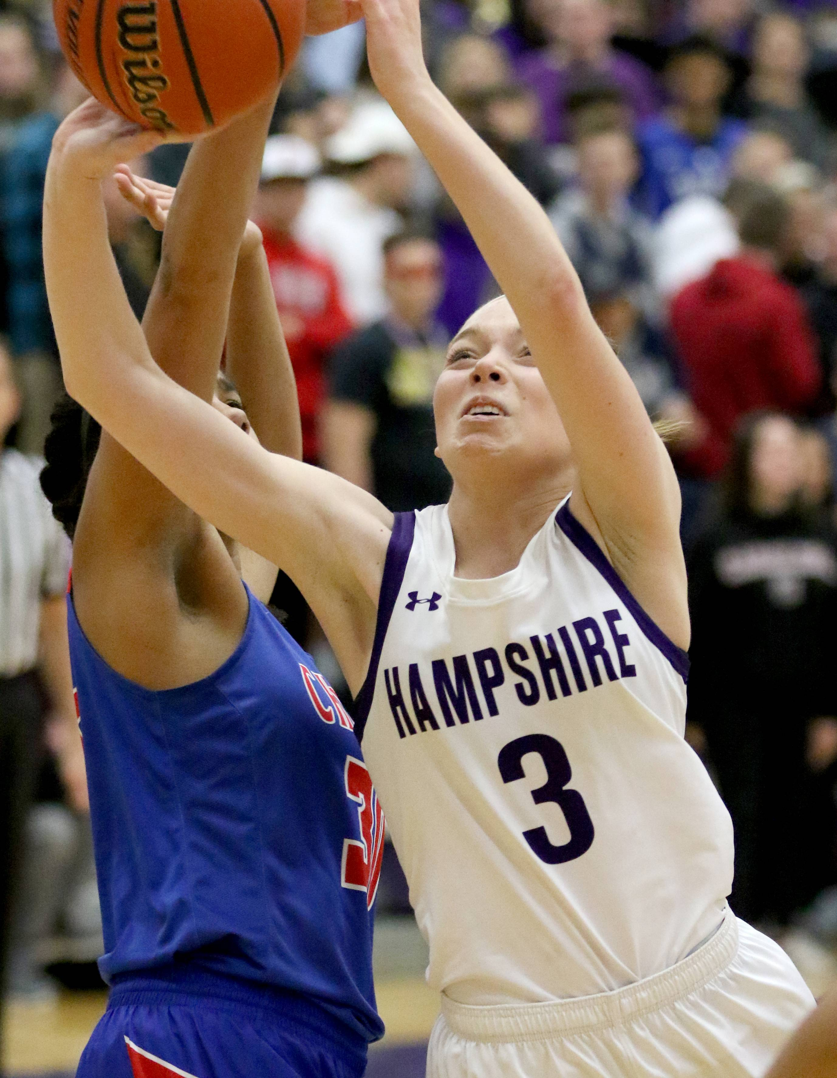 Hampshire's Ally Cermak goes to the hoop against Dundee-Crown during varsity girls basketball at Hampshire Friday night.