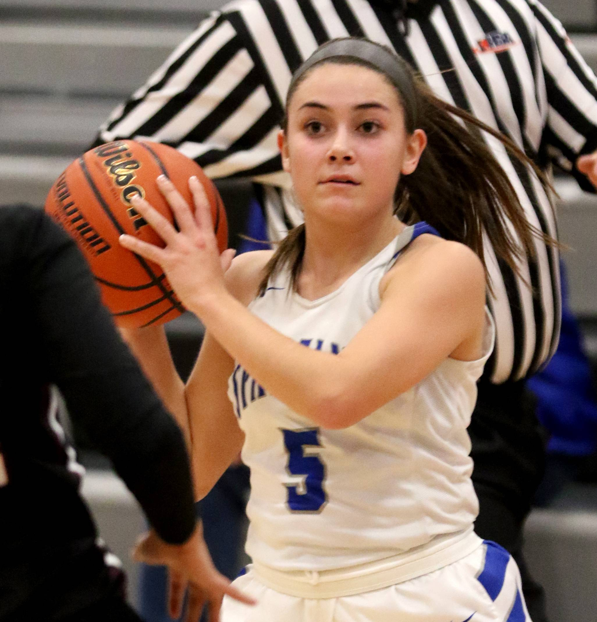 St. Francis' Katelin Chaparro looks for an option against Wheaton Academy during regional girls varsity basketball at Kaneland High School Monday night.