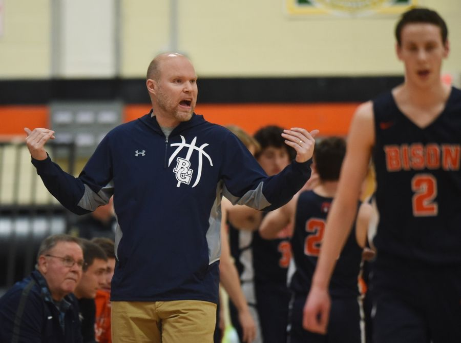 Buffalo Grove boys basketball coach Keith Peterson leads his team during Wednesday's game in Libertyville.