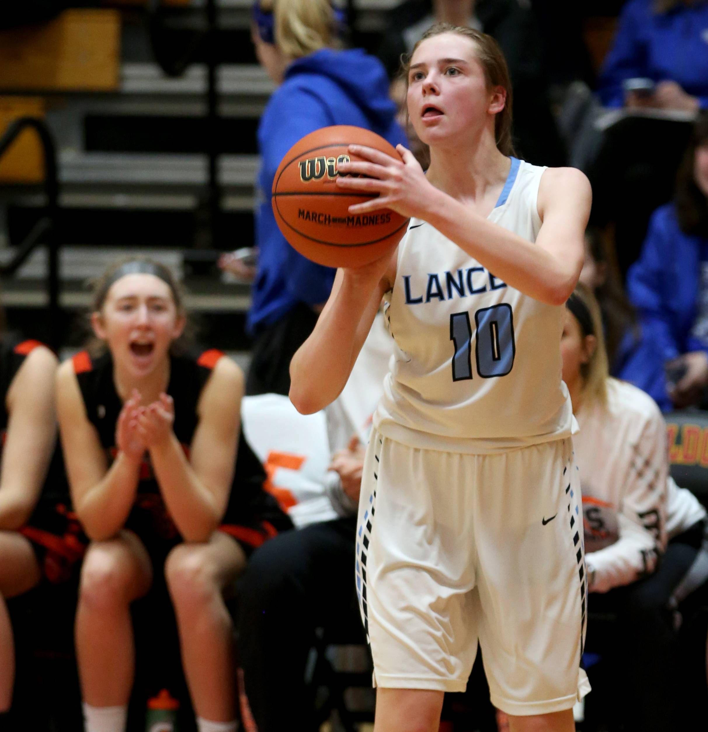 Lake Park's Payton Skalski takes an outside shot against Wheaton Warrenville South  during sectional semifinal girls basketball action at Batavia Monday night.