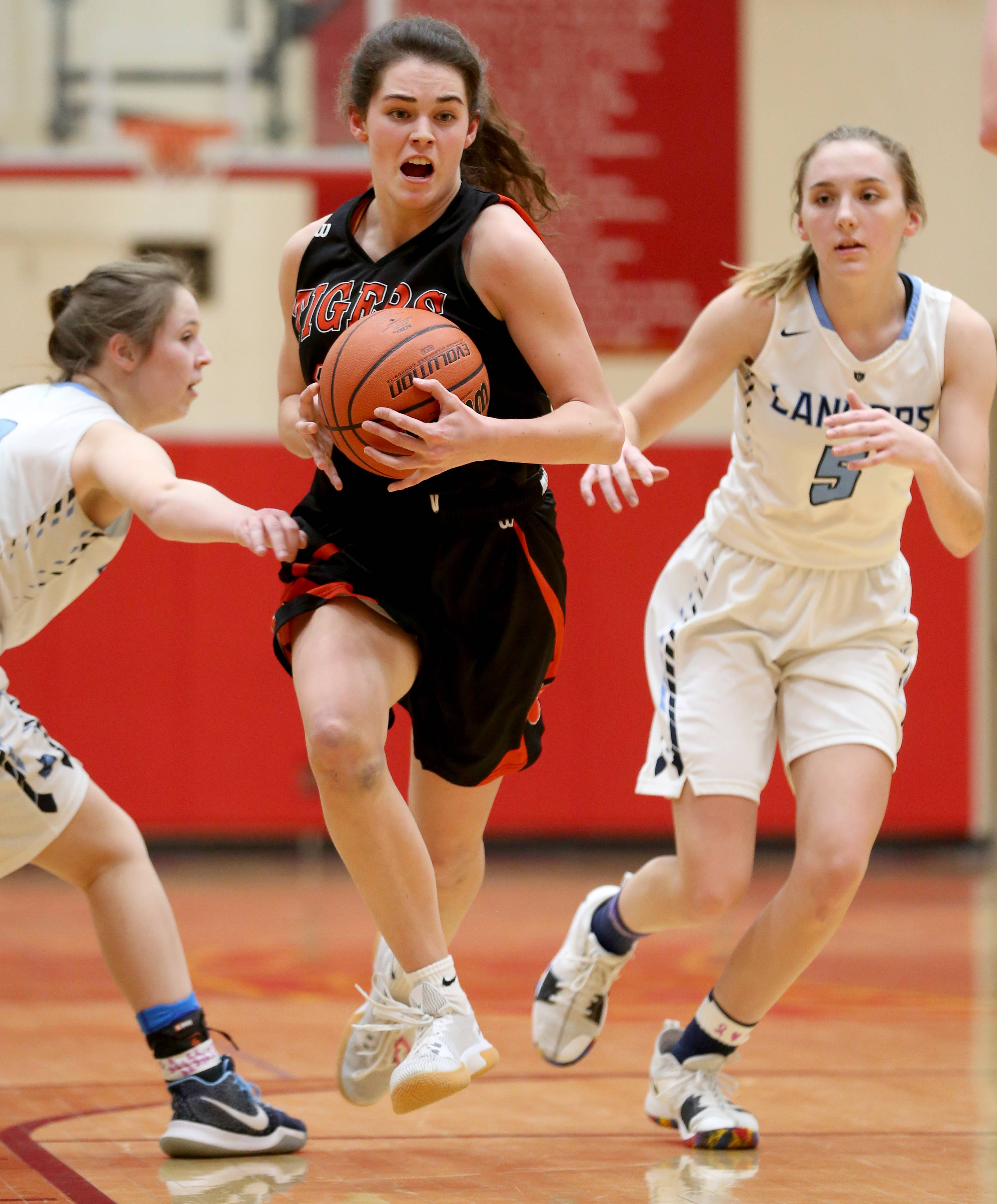 Wheaton Warrenville South's MacKenzie Stebbins moves the ball against Lake Park during sectional semifinal girls basketball action at Batavia Monday night.