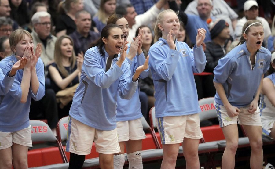 Maine West's bench cheers during their supersectional game Monday night at Palatine High School.
