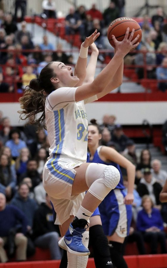 Maine West's Angela Dugalic drives in for a layup during their supersectional game Monday night at Palatine High School.