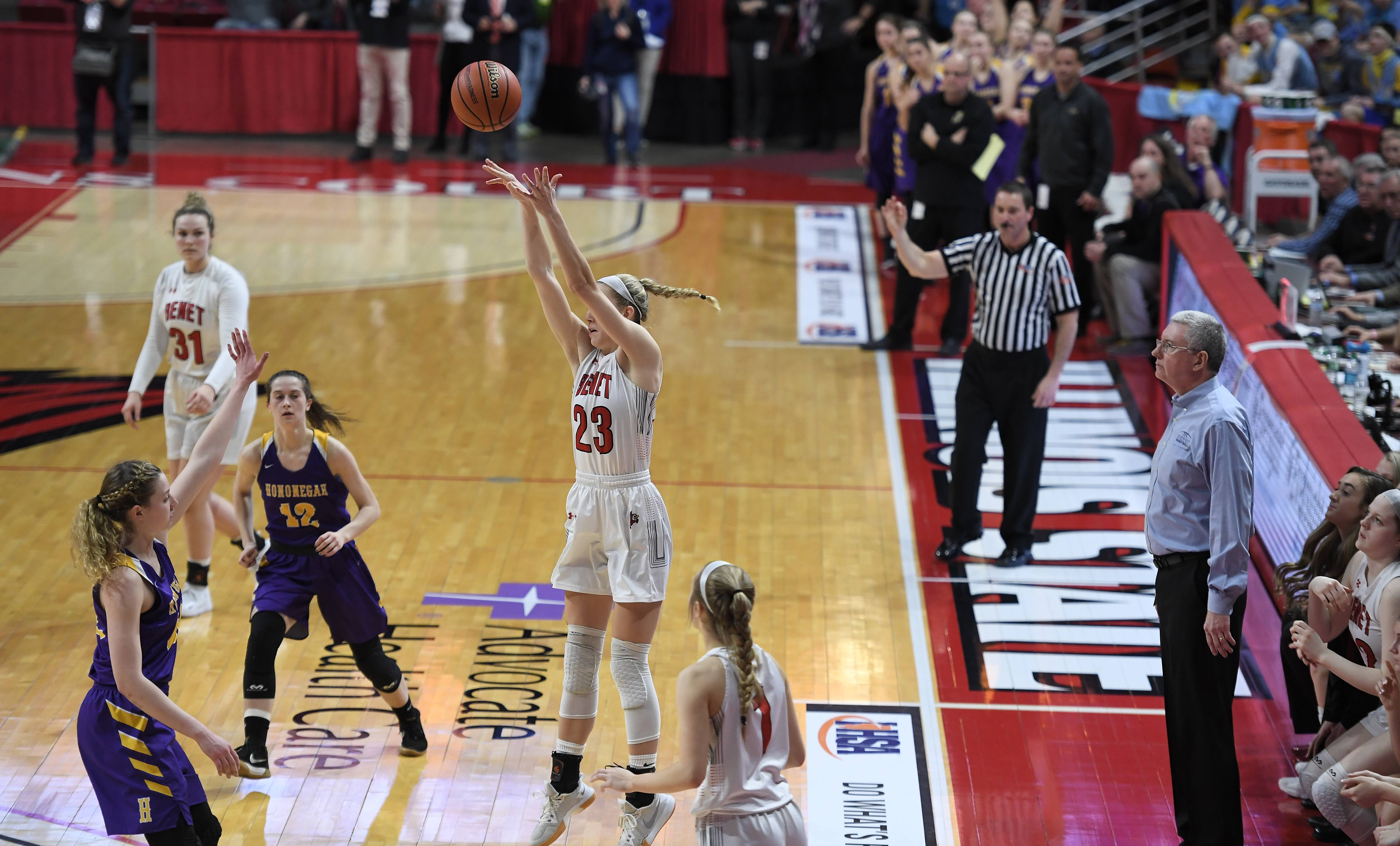 Benet Academy's Lauren Stack shoots one last time in the last few seconds of the game in which Hononegah beat Benet Academy 43-39 in Class 4A girls state basketball third-place game in Normal on Saturday.