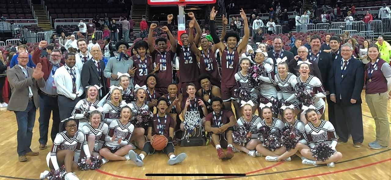 Belleville West celebrates its second-straight Class 4A state boys basketball championship Saturday night at Carver Arena in Peoria.
