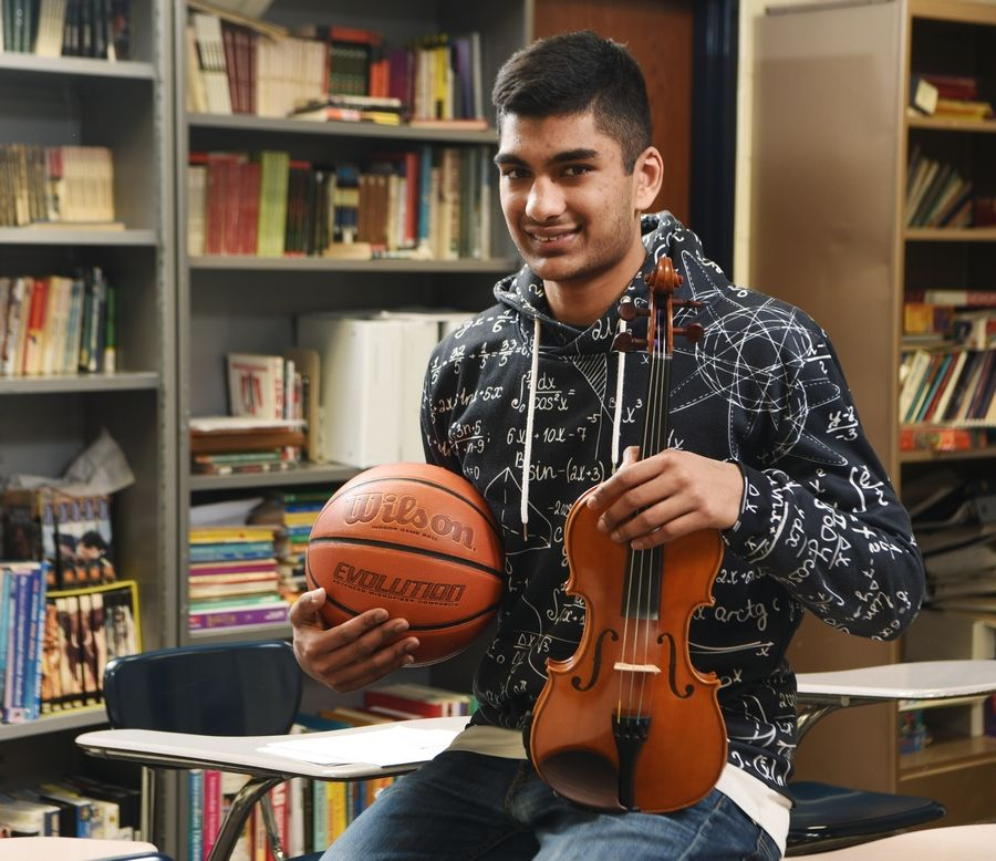 Conant High School senior Rajat Mittal got a perfect score on his ACT and excels in math; he is a violinist, and he plays basketball.