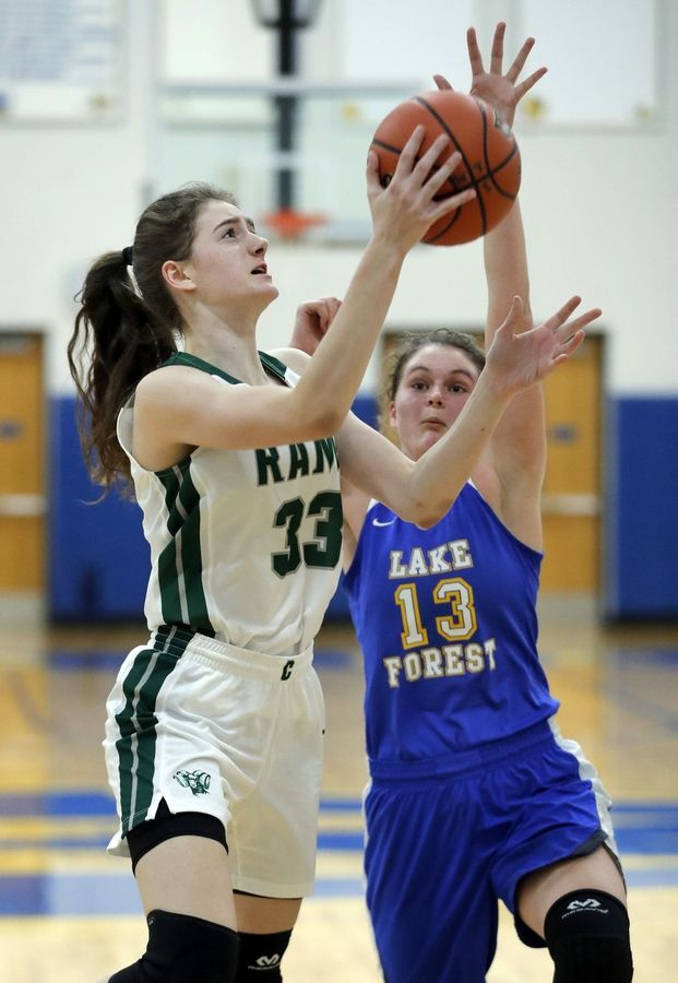 Grayslake Central's Kate Bullman (33) drives on Lake Forest's Finola Summerville during the Warren Blue Devil Classic girls basketball tournament this past season.