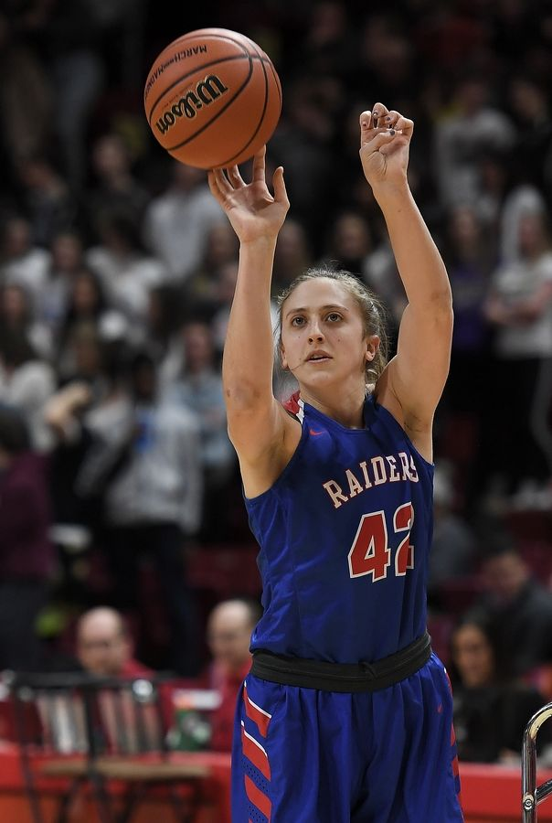 Glenbard South's Maggie Bair, the DuPage County Female Athlete of the Year, took third place in the 3-point shootout before the start of the IHSA girls state basketball Class 3A semifinals at Normal last season.