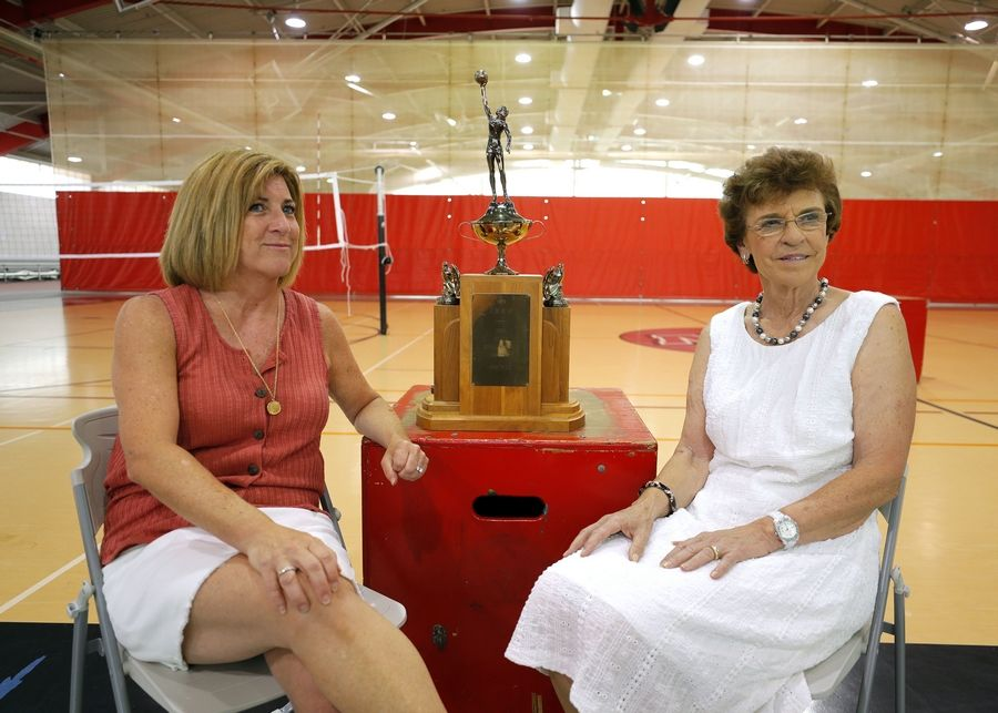 Former Arlington Heights Mayor Arlene Mulder, right, and longtime sports journalist Melissa Isaacson first crossed paths more than 40 years ago, when Mulder was the basketball coach who put Isaacson and her Niles West High School teammates on the road to becoming state champions in 1979.