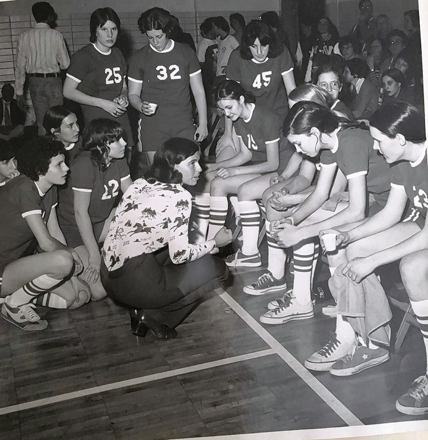 As the first head coach of the Niles West High School girls basketball program, Arlene Mulder, center, set the team on the path to win the 1979 state championship.