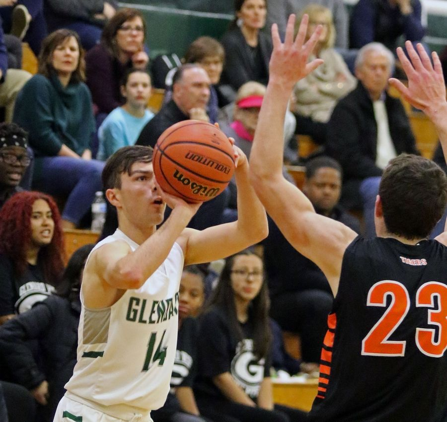 Glenbard West's Patrick Fornatto takes a shot during a game against visiting Wheaton Warrenville South on Dec. 11.