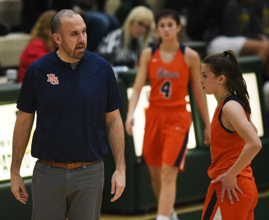 Buffalo Grove girls basketball coach Stephen Kolodziej during a time out during Saturday's game against Stevenson.