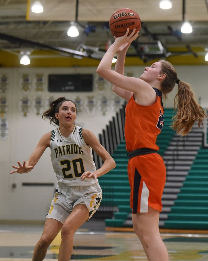 Buffalo Grove's Leah McKenna shoots as Stevenson's Avery King closes in on defense during Saturday's game in Lincolnshire.