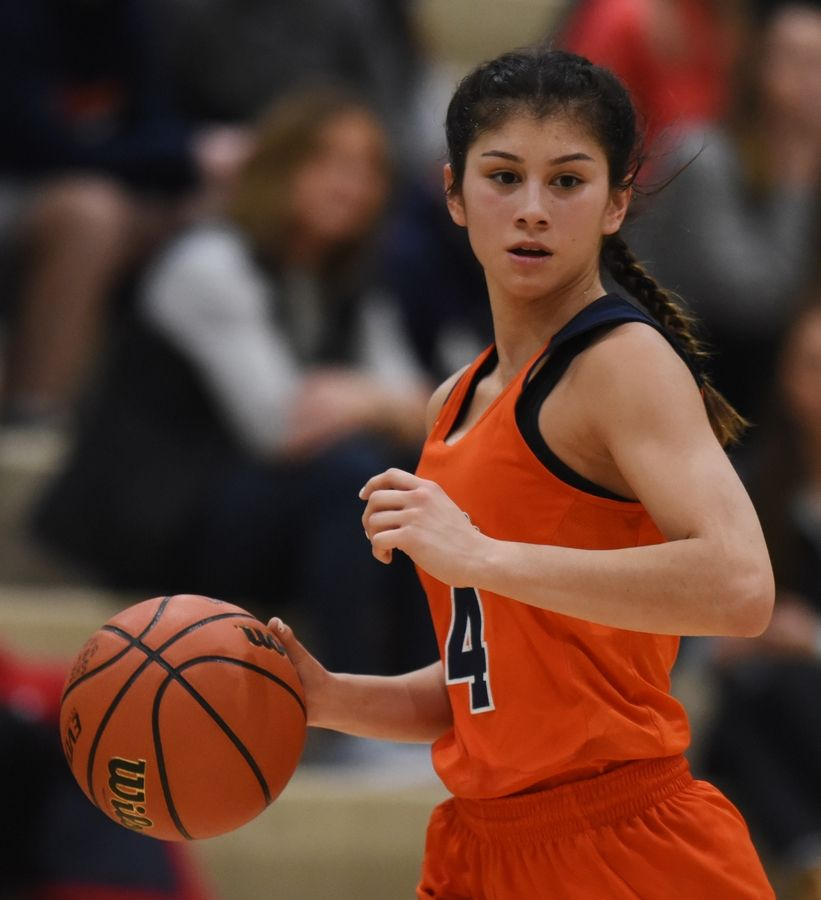 Buffalo Grove guard Macy Floro has the ball as she looks for an open teammate during Saturday's game at Stevenson.