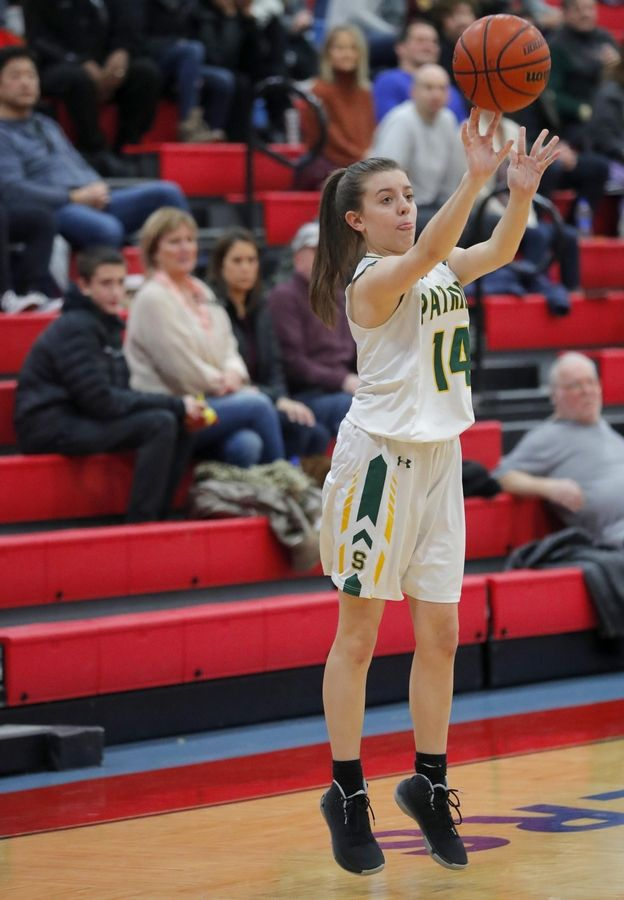 Stevenson's Ava Bardic sets up an outside shot against Lake Park's in the third place game of the Komaromy Holiday Classic at Dundee-Crown High School in Carpentersville Monday.