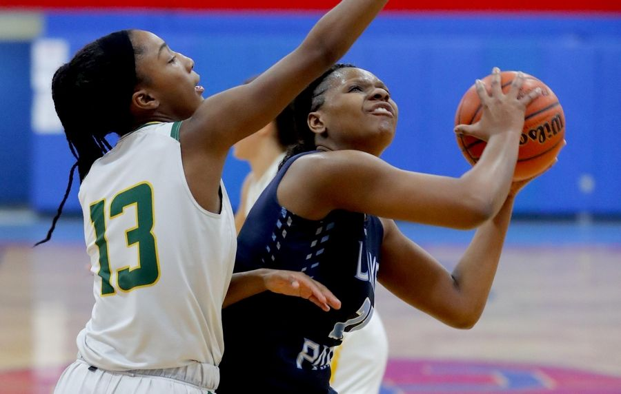 Stevenson's Simone Sawyer, left, guards Lake Park's Darrione Rogers in the third place game of the Komaromy Holiday Classic at Dundee-Crown High School in Carpentersville Monday.