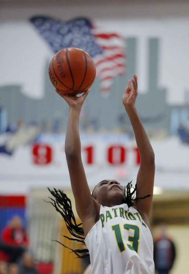 Stevenson's Simone Sawyer grabs a rebound against Lake Park in the third place game of the Komaromy Holiday Classic at Dundee-Crown High School in Carpentersville Monday.