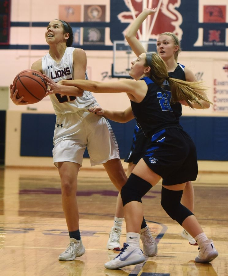 St. Viator's Joy Bergstrom, left, draws contact from St. Francis' Ashley Sullivan during Saturday's game in Arlington Heights.