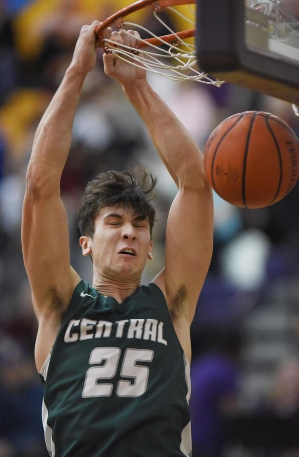 Grayslake Central's Grant Hardy slam dunks the ball late in a win against Wauconda in a boys basketball game in Wauconda Thursday.