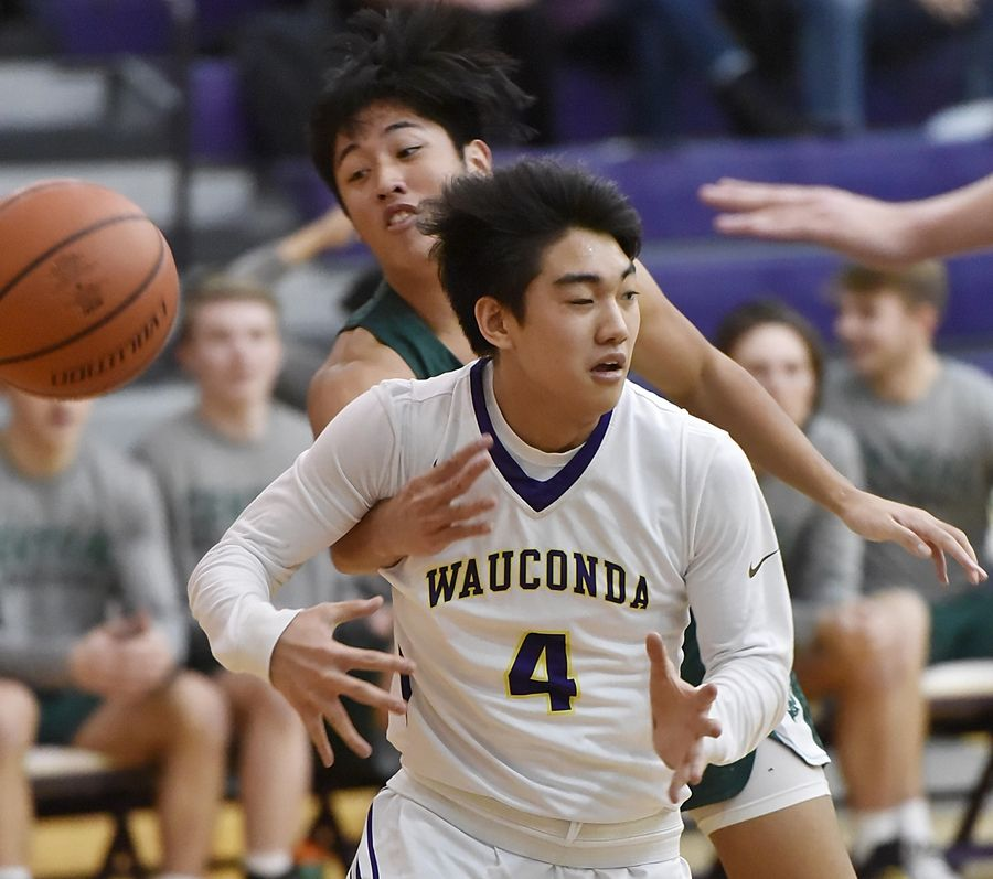 Grayslake Central's Dillan Dumanlang strips the ball from Wauconda's Benjamin Chung in a boys basketball game in Wauconda Thursday.
