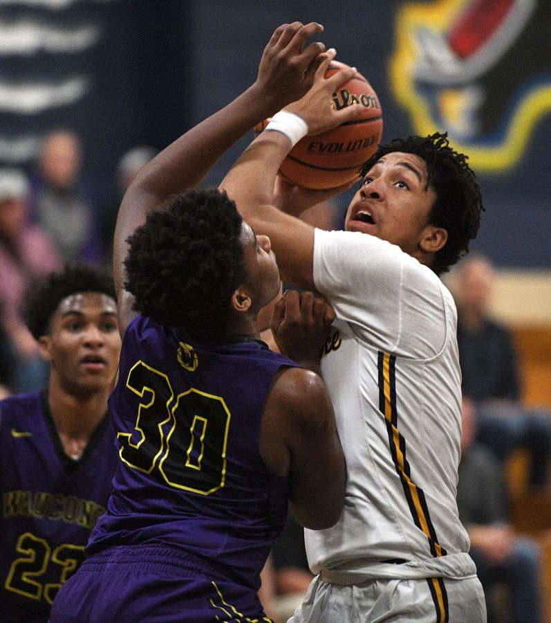 Round Lake's Deveauntay McNeal tries to score against Wauconda's Garrison Carter in a boys basketball game in Round Lake Tuesday.