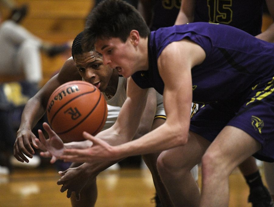 Round Lake's Hakim Williams and Wauconda's Nicks Bulgarelli, right, battle for the ball in a boys basketball game in Round Lake Tuesday.