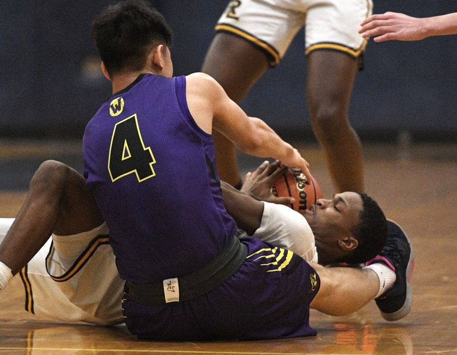 Wauconda's Benji Chung and Round Lake's Jamirh Jones battle for the ball in a boys basketball game in Round Lake Tuesday.