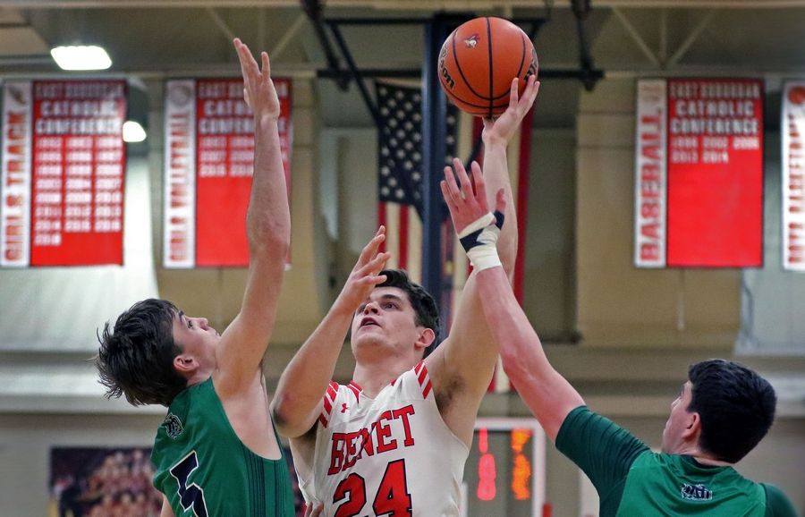 Benet's Jacob Snell takes a shot during a game against visiting Notre Dame on Feb. 14. The Redwings won 45-43.