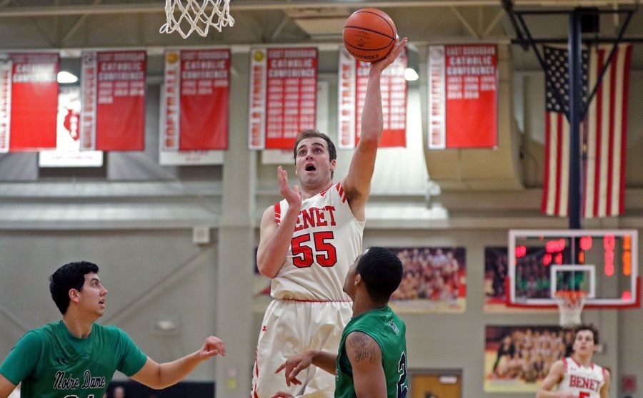 Benet's Colin Crothers takes a shot during a game against visiting Notre Dame on Feb. 14. The Redwings won 45-43.