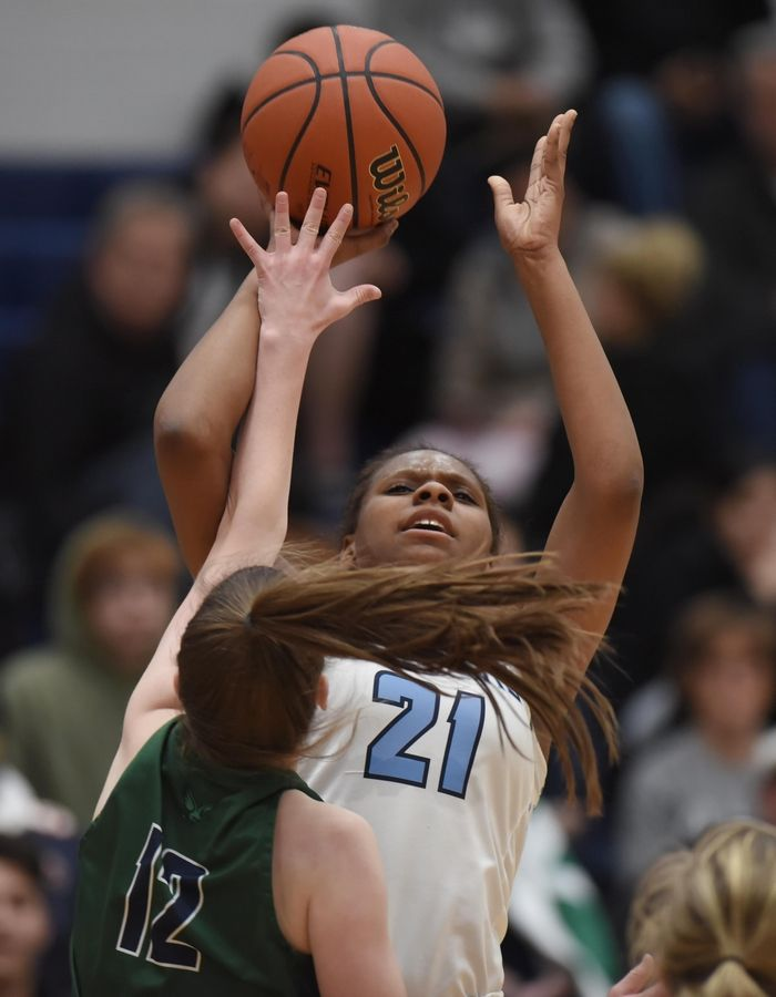 Lake Park's Darrione Rogers shoots against Bartlett's Mackenzie Hare in the Class 4A Lake Park girls basketball regional final game in Roselle Thursday.