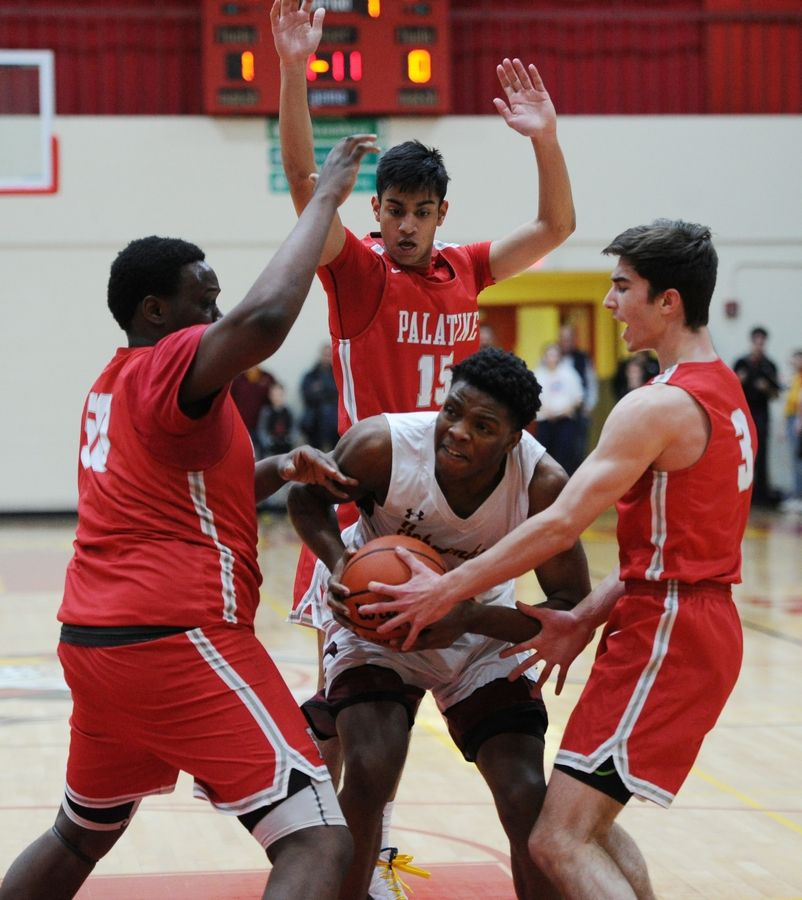 Schaumburg's Chris Hodges is trapped by Palatine's defense comprised of Julian Campbell, Tommy Swanson and Shailan Rajpurkar in the varsity basketball matchup at Schaumburg on Friday.