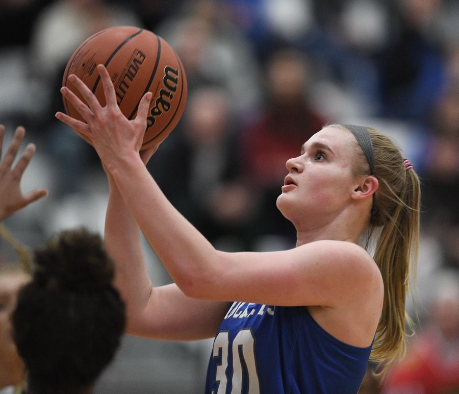John Starks/jstarks@dailyherald.comBurlington Central's Kathryn Schmidt scored a game-high 29 points in a 66-59 loss Tuesday to Sycamore in the Class 3A Hampshire sectional semifinals.