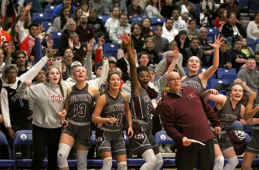 Fans and players on the bench react late in a Montini win over Grayslake Central in Class 3A girls basketball supersectional action at Elgin Community College Monday night.